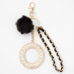 Gold Bling Initial Pom Pom Keyring - Black, O,