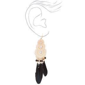 """Gold 4"""" Fancy Filigree Feather Drop Earrings - Black,"""