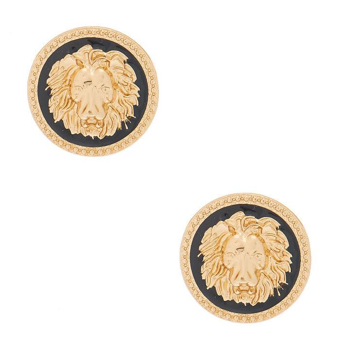 Gold Lion Stud Earrings,