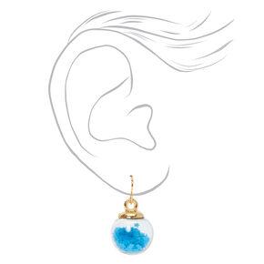 Gold 1'' Star Shaker Drop Earrings - Blue,