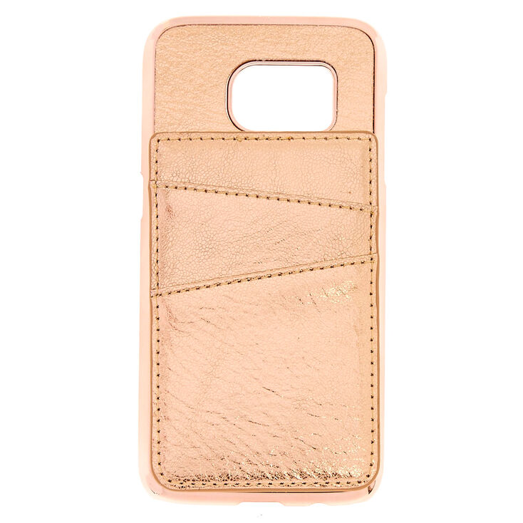 Rose Gold Card Holder Phone Case - Fits Samsung Galaxy S7,