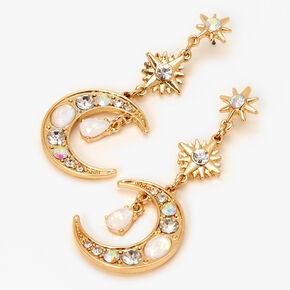 """Gold 2"""" Opal Starburst Moon Drop Earrings,"""