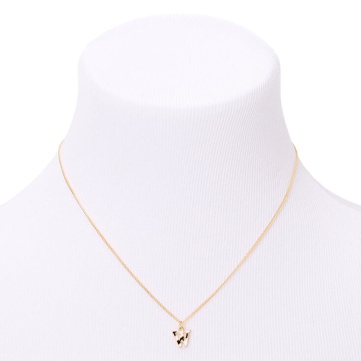 Gold Striped Initial Pendant Necklace - W,