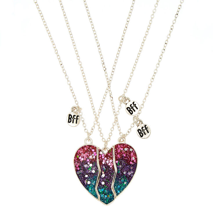 Best Friends Ombre Glitter Heart Pendant Necklaces - 3 Pack,