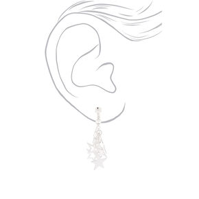 "Silver 1"" Star Clip On Drop Earrings,"