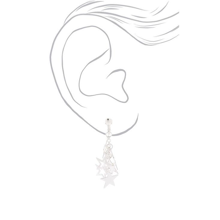 """Silver 1"""" Star Clip On Drop Earrings,"""