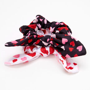 Valentine's Day Knotted Bow Hair Scrunchies - 2 Pack,