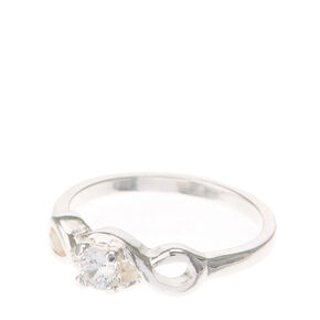 Silver Infinity & Faux Crystal Ring,