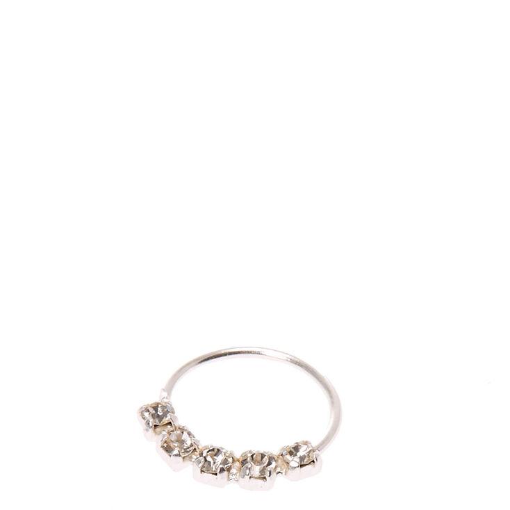 Sterling Silver 22G Helix Crystal Hoop Earring,