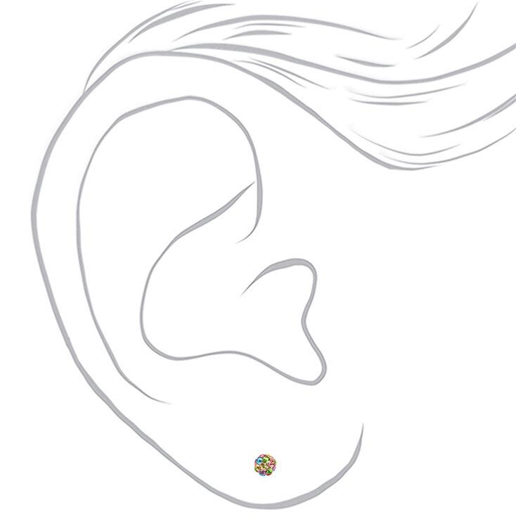 Sterling Silver 4MM Crystal Fireball Stud Earrings - Pink,