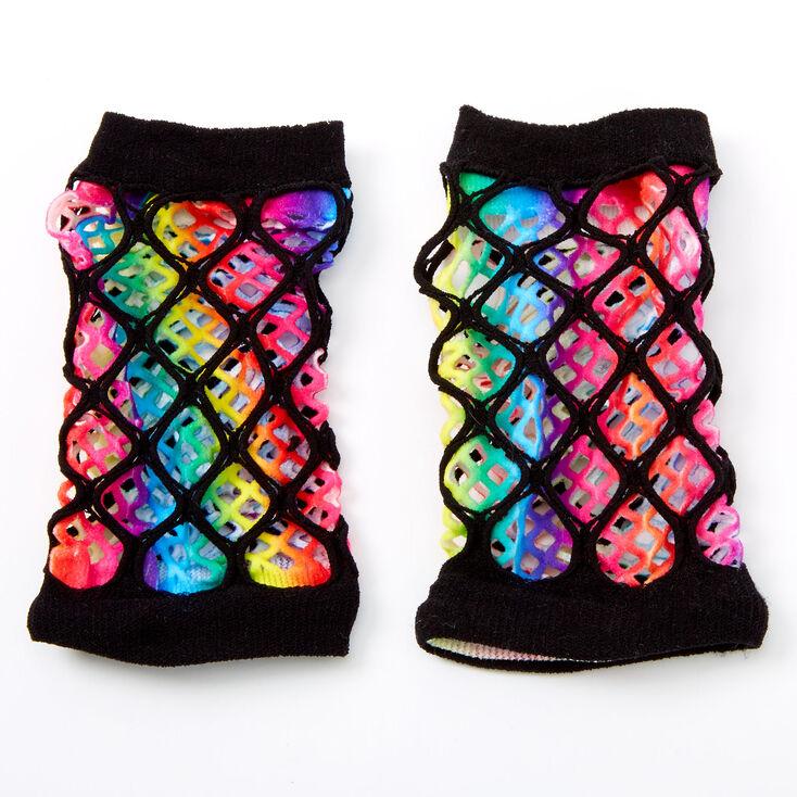 Rainbow Tie Dye Layered Fishnet Gloves,