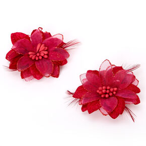 Lily Flower Hair Clips - Burgundy, 2 Pack,