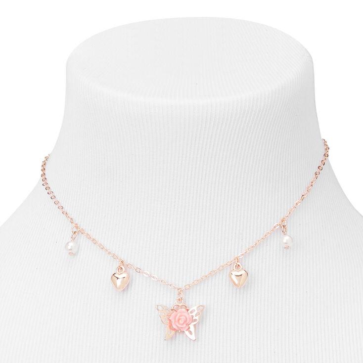 Parure de bijoux cœur et papillon couleur doré rose Claire'sClub - Lot de 3,