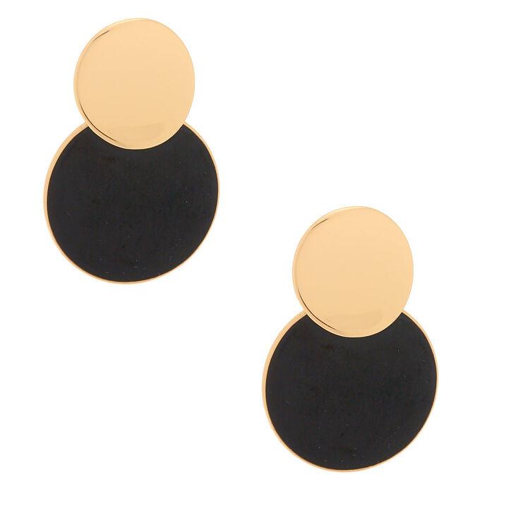 """Gold 2"""" Double Disc Drop Earrings,"""