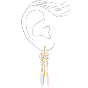 "Gold 2.5"" Pastel Unicorn Dreamcatcher Clip On Drop Earrings,"