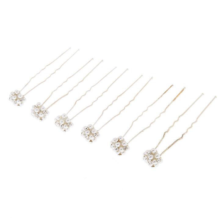 Lot de 6 épingles plates grappe imitation perles,