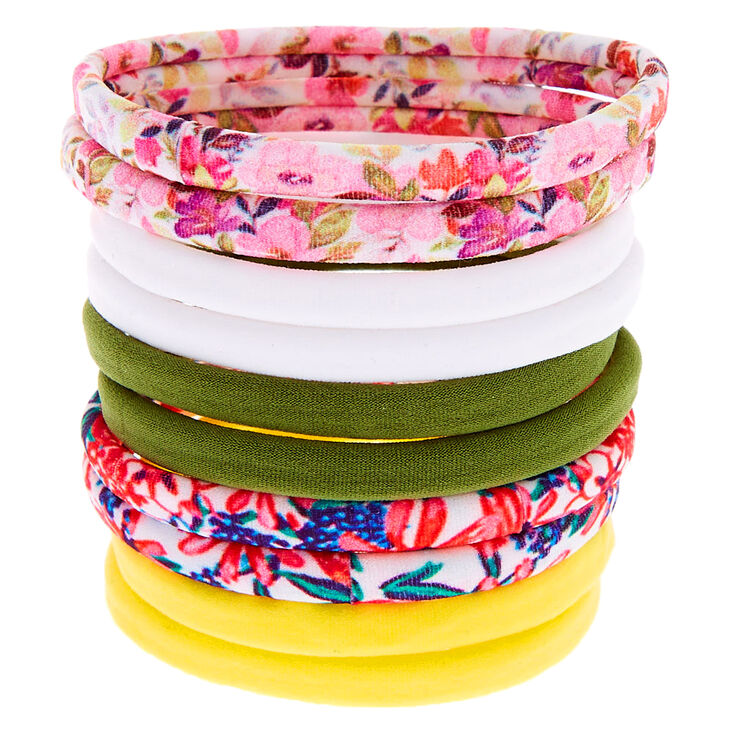 Spring Floral Rolled Hair Bobbles - 10 Pack,