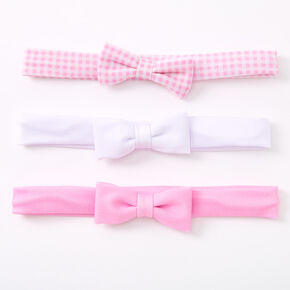 Claire's Club Bow Headwraps - Pink, 3 Pack,
