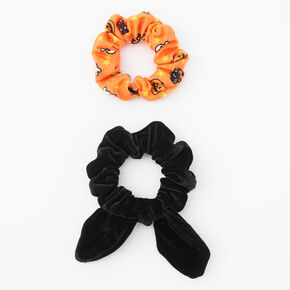Small Spooky Icon & Black Velvet Knotted Bow Hair Scrunchies - 2 Pack,