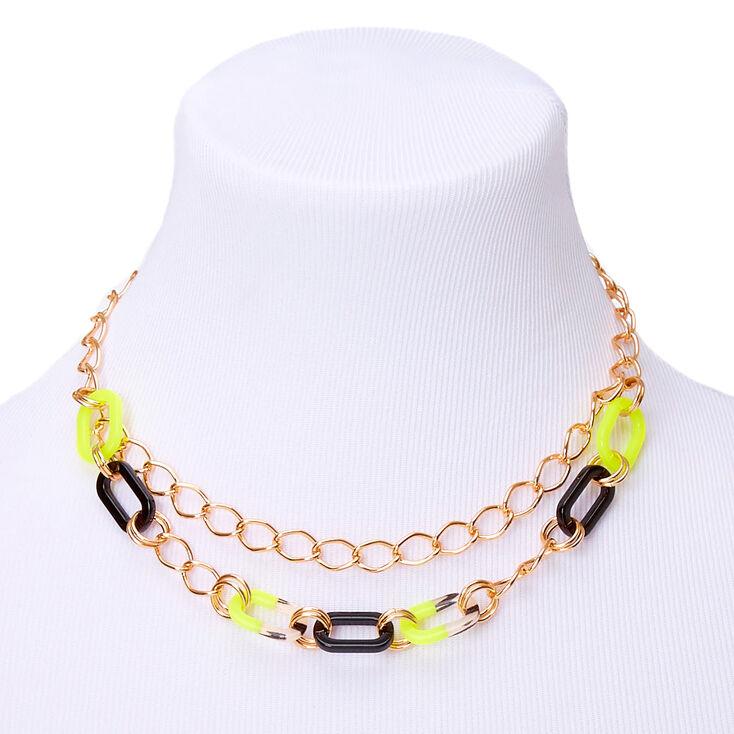 Collier de caractère chaîne couleur doré - Jaune fluo,