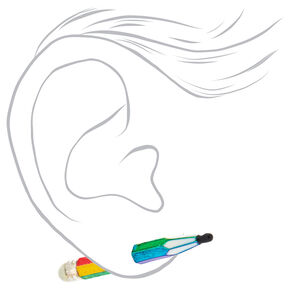 Boucles d'oreilles devant-derrière stylo arc-en-ciel,