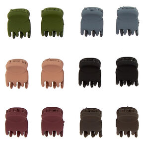 Mixed Matte Mini Hair Claws - 12 Pack,