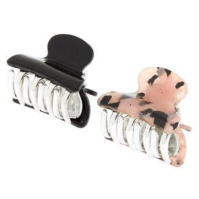 Tortoiseshell Mini Hair Claws - Pale Pink, 2 Pack,