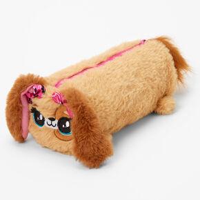 Furry Puppy Pencil Case - Brown,