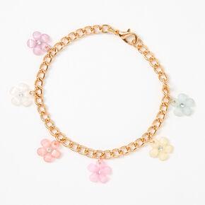 Bracelet à breloques fleurs printanières pastel couleur dorée,
