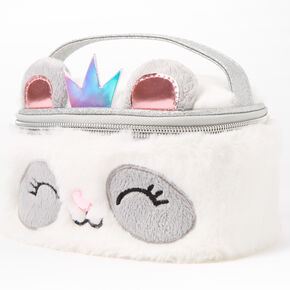 Claire's Club Paige the Panda Plush Makeup Bag - White,