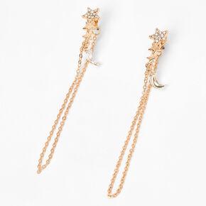 """Gold 2.5"""" Celestial Chain Drop Earrings,"""