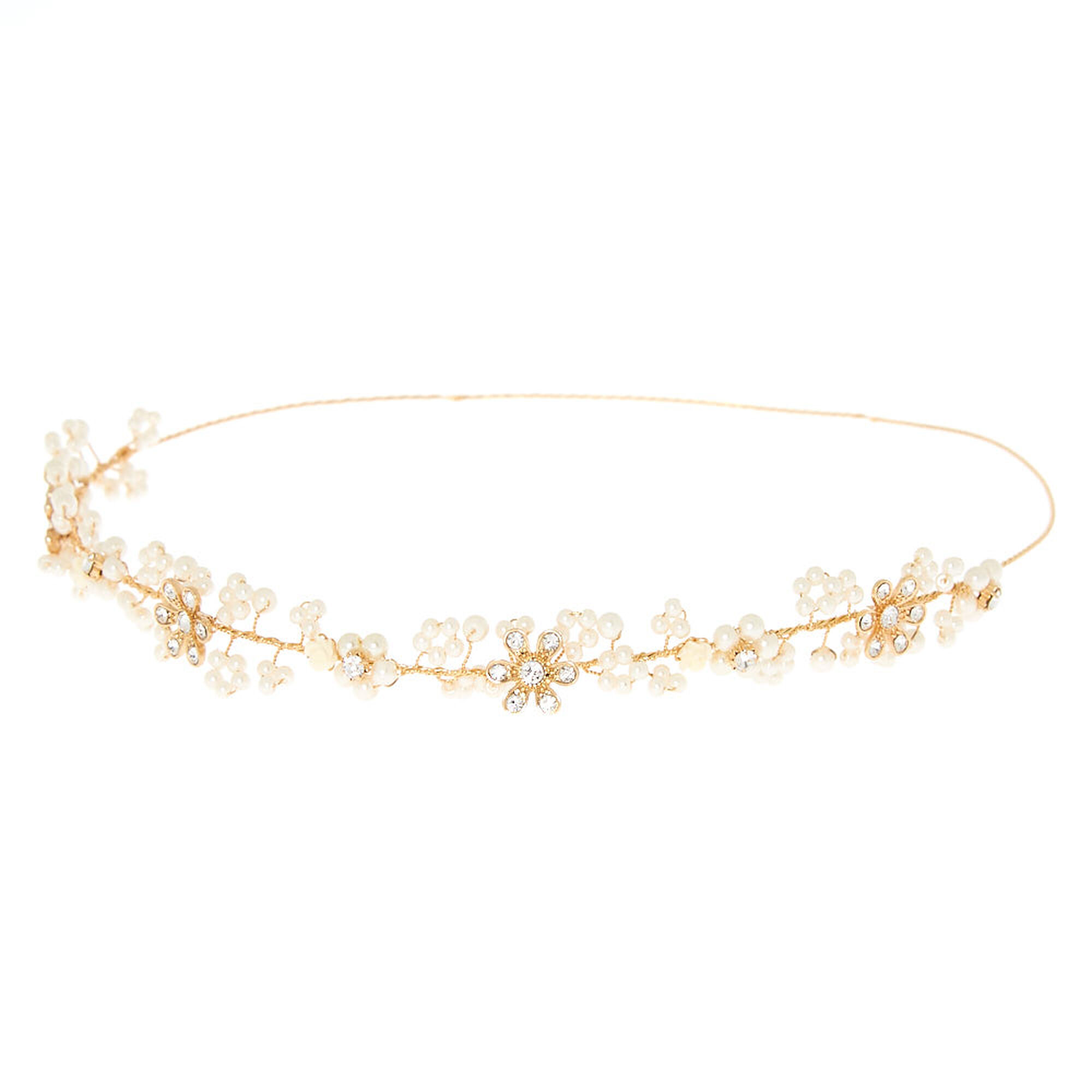 Gold Pearl Flower Crown Headband 30232255e60