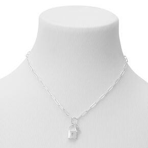 Silver Double Lock Pendant Chain Necklace,
