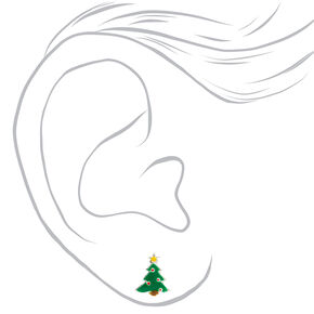Sterling Silver Christmas Spirit Stud Earrings - 3 Pack,