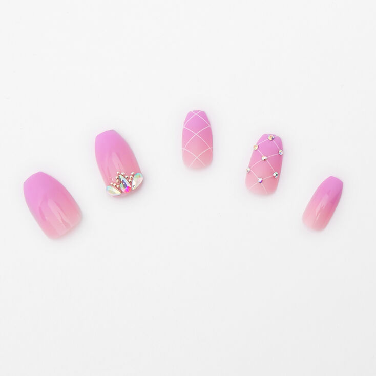 Faux ongles carrés avec strass et dégradé de couleurs lavande - Lot de 24,