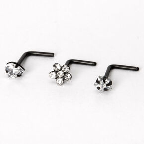 Black 20G Cubic Zirconia Flower Heart Star Nose Rings - 3 Pack,