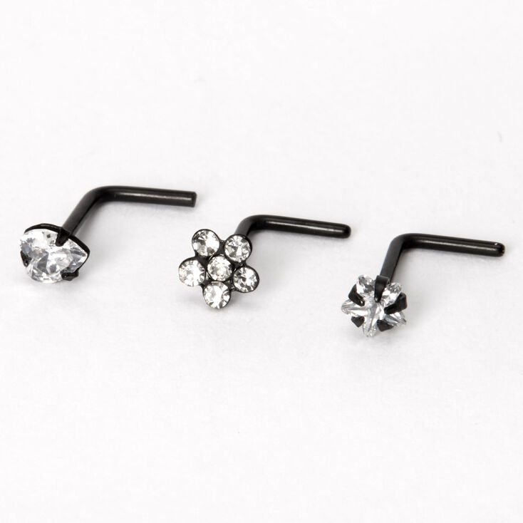 Black 20G Cubic Zirconia Flower Heart Star Nose Rings - 3 Pack,