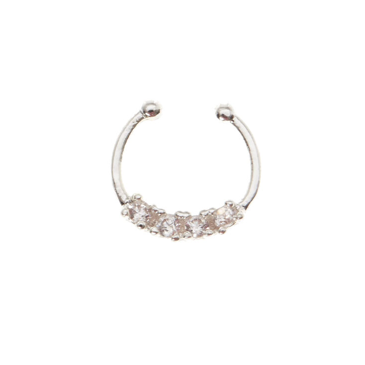 Silver Crystal Faux Hoop Nose Ring,