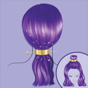 Kit d'accessoires pour cheveux pour deux types de coiffure couleur dorée,