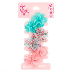 Claire's Club Chiffon Flower Hair Clips - 6 Pack,