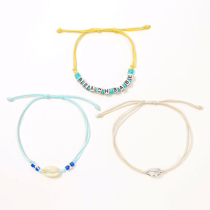 Beach Babe Cowrie Shell Adjustable Bracelets - 3 Pack,