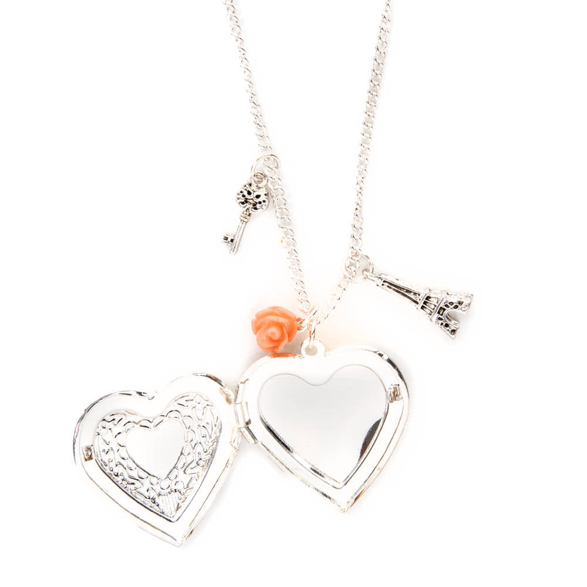 Silver Heart Locket Charms Pendant Necklace