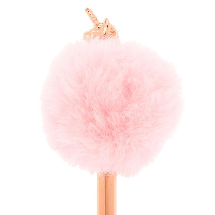 Rose Gold Pom Pom Unicorn Pen - Pink,