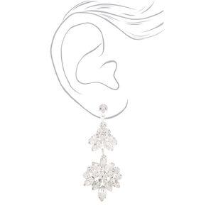 """3"""" Silver Rhinestone Double Fan Drop Earrings,"""