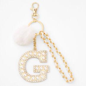 Gold Bling Initial Pom Pom Keyring - White, G,