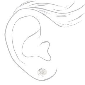 Silver Cubic Zirconia Star Stud Earrings - 8MM,