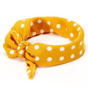 Polka Dot Bandana Headwrap - Yellow,