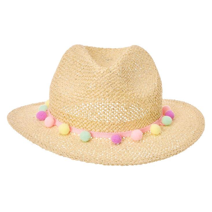 Kids Pastel Poms Straw Hat,