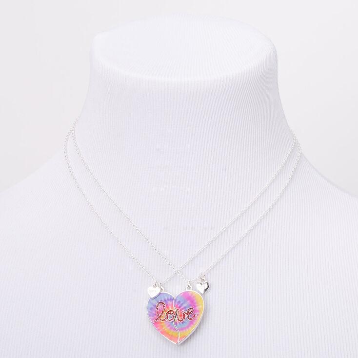 Best Friends Love Tie Dye Heart Pendant Necklaces - 2 Pack,