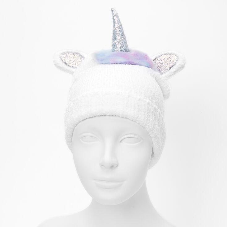 Unicorn Chenille Beanie - White,